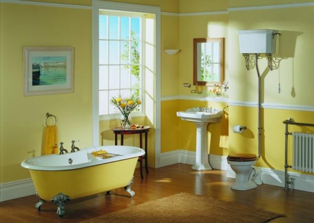 Ванной комнаты в желтом цвете